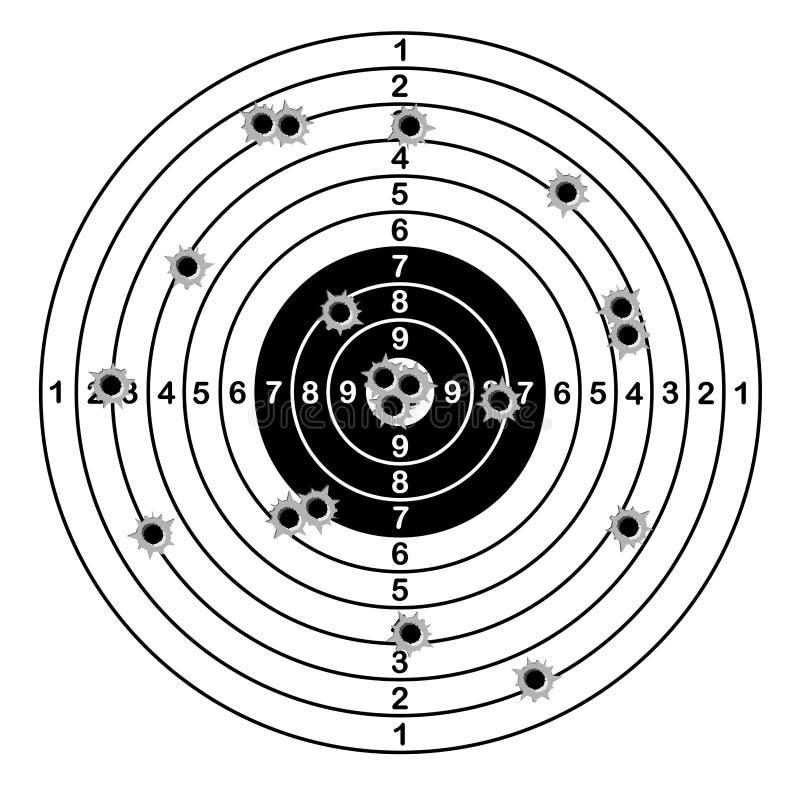 Obiettivo della gamma di fucilazione sparato dei fori di pallottola Illustrazione di vettore illustrazione di stock
