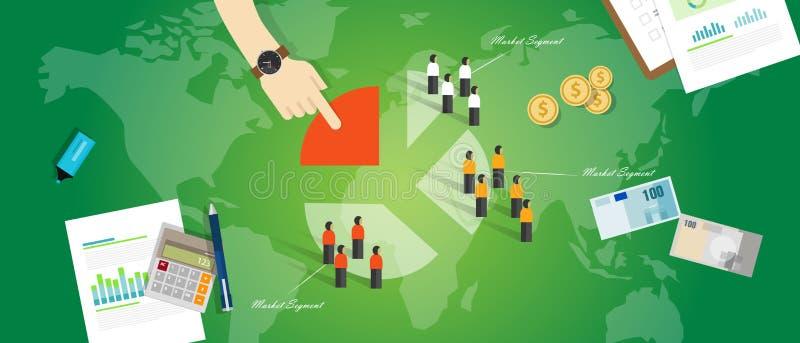 Obiettivo della gente del mercato di vendita di concetto di affari di segmento di segmentazione di cliente royalty illustrazione gratis