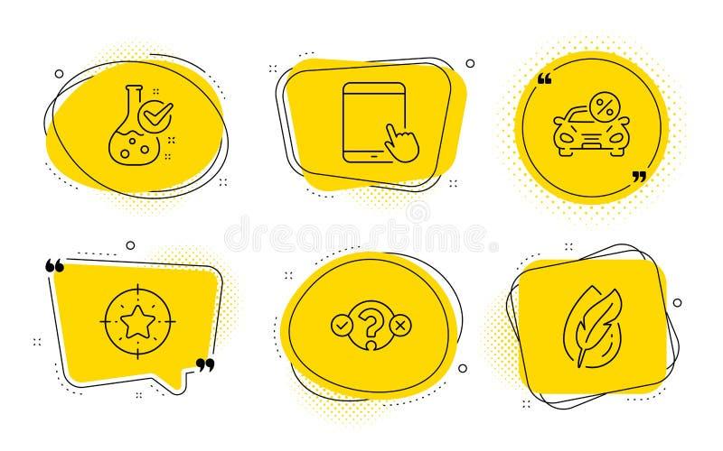Obiettivo della stella, pc della compressa ed insieme di leasing delle icone dell'automobile Laboratorio di chimica, prova di qui illustrazione di stock