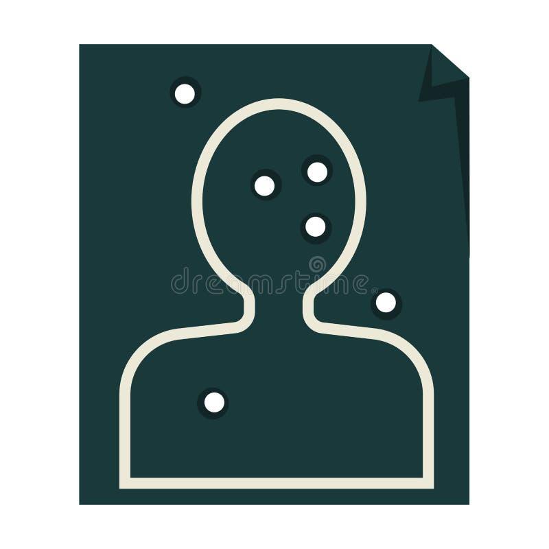 Obiettivo di carta con i fori umani di pallottola e della siluetta illustrazione di stock