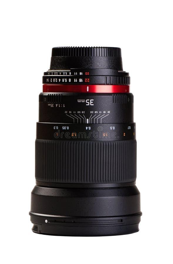 Obiettivo di macchina fotografica su priorità bassa bianca immagini stock libere da diritti