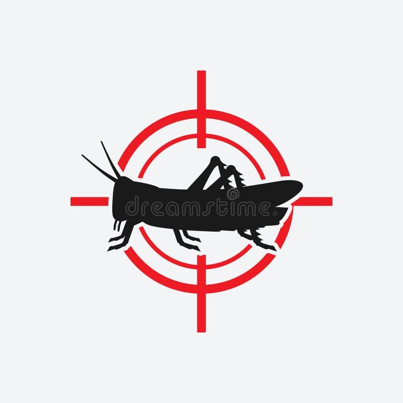 Obiettivo di rosso dell'icona della locusta illustrazione di stock