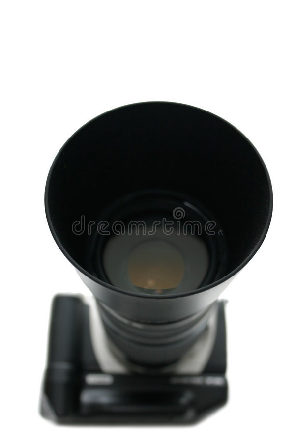 Obiettivo di Telephoto sulla macchina fotografica dello slr immagine stock