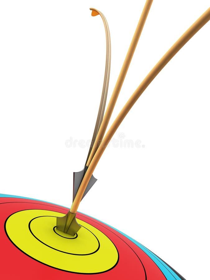 Obiettivo Di Tiro All Arco Con Due Frecce Immagine Stock