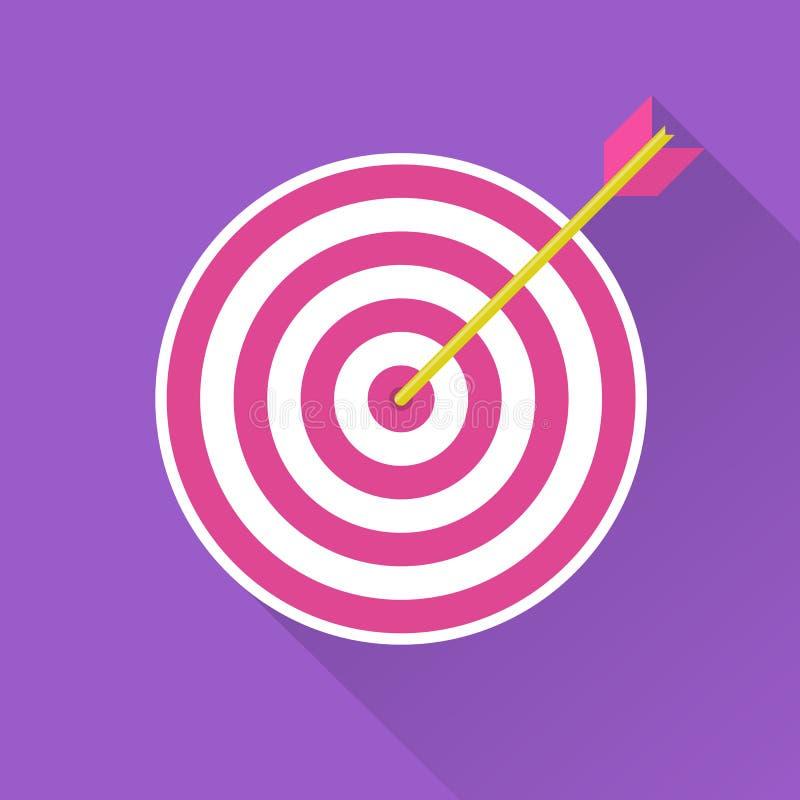 Obiettivo di tiro con l'arco con il colpo della freccia illustrazione di stock