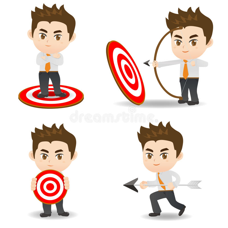 Obiettivo di tiro con l'arco dell'uomo d'affari dell'illustrazione del fumetto