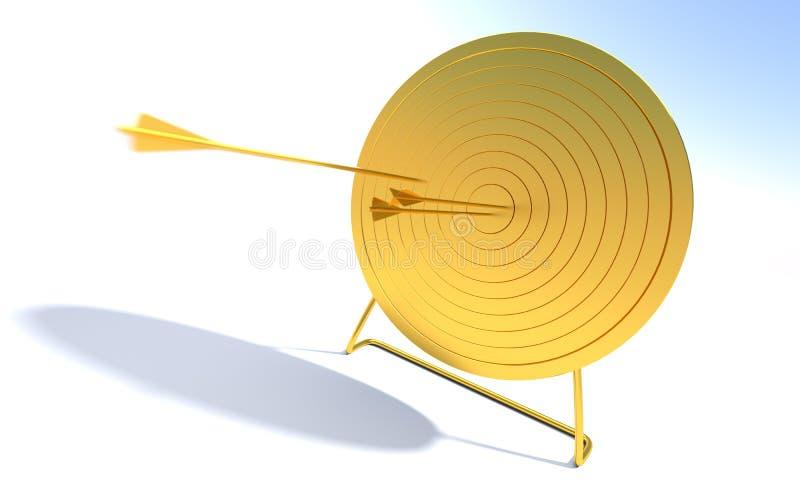 Obiettivo dorato di tiro all'arco immagine stock