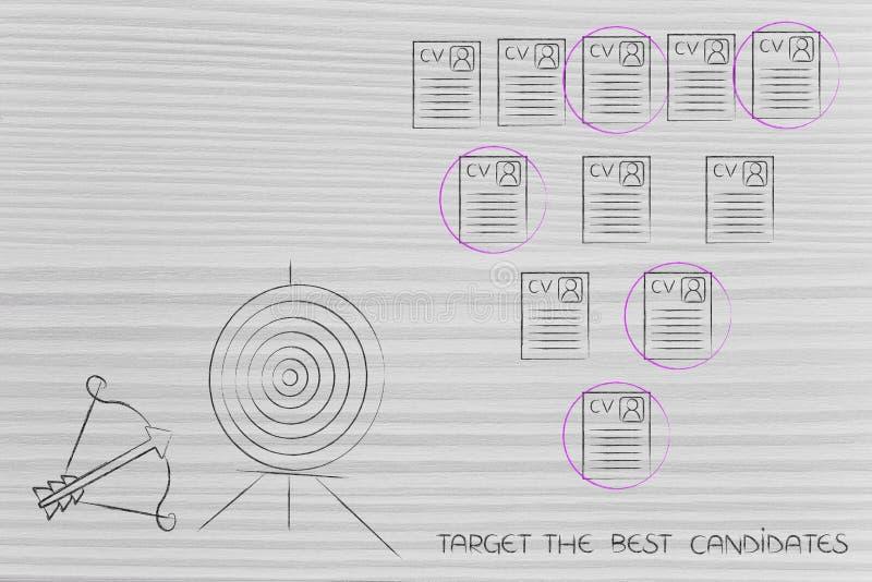 Obiettivo e freccia accanto alla selezione dei riassunti all'interno di un gruppo illustrazione di stock