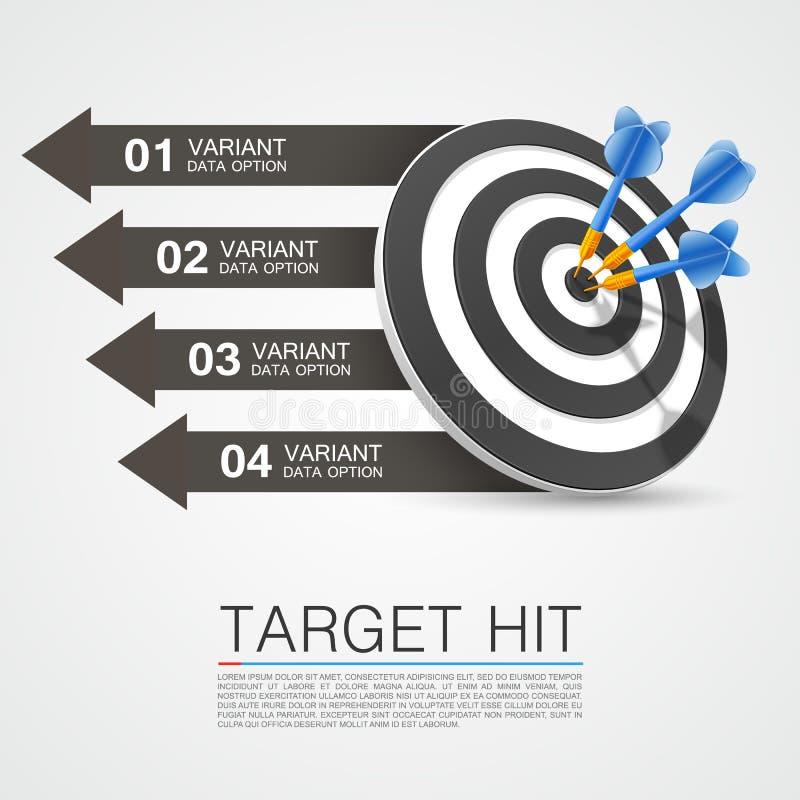 Obiettivo grafico di informazioni con i dardi illustrazione di stock