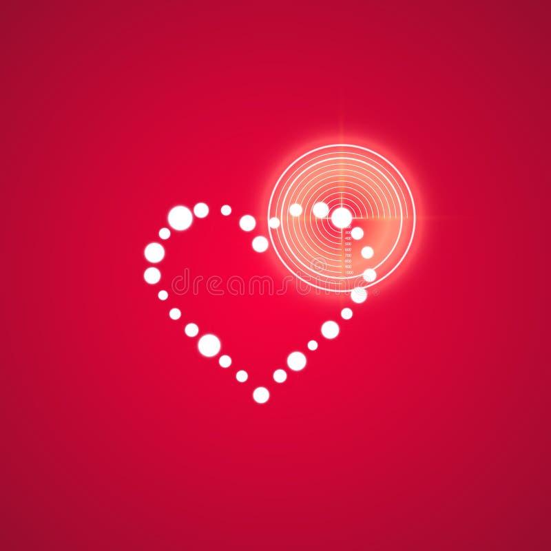 Obiettivo Logo Icon Design di amore Impulso errato, effetto al neon Cuore nella linea icona di scopo dell'obiettivo Simbolo di da illustrazione di stock