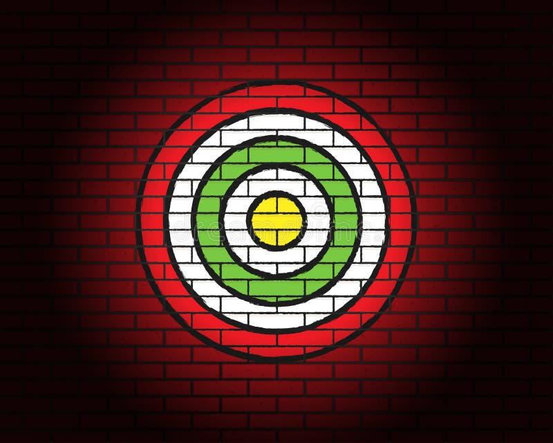 Obiettivo o scopo, illuminazione, muro di mattoni rosso royalty illustrazione gratis