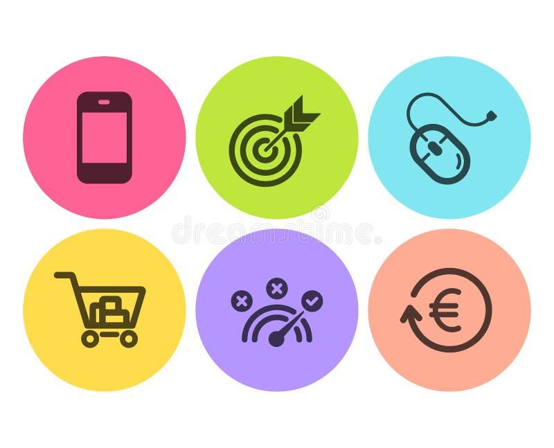 Obiettivo, risposta corretta ed insieme delle icone di acquisto di Internet Topo del computer, segni di valuta di scambio e di Sm royalty illustrazione gratis