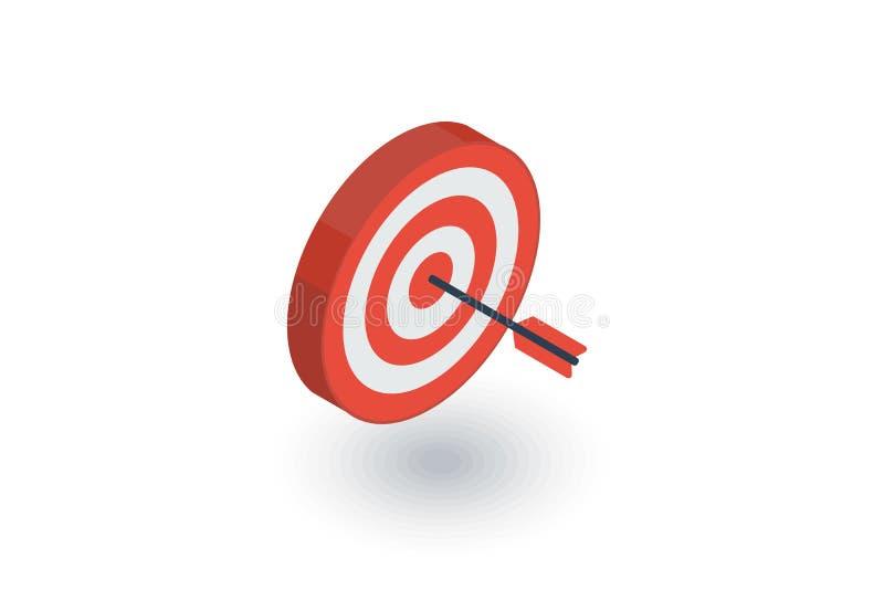 Obiettivo, scopo, concetto di vendita di successo, icona piana isometrica concentrare della freccia vettore 3d illustrazione di stock