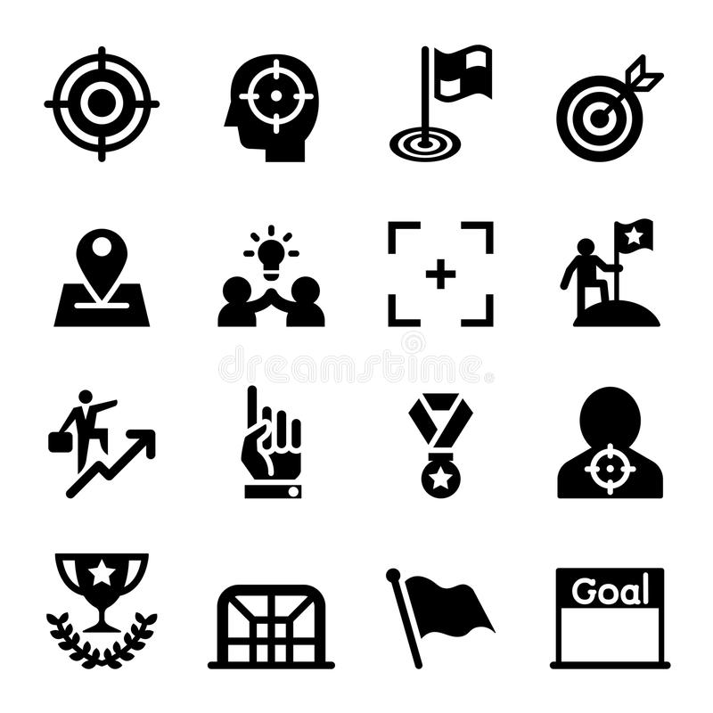 Obiettivo, scopo, scopo, insieme dell'icona di missione illustrazione vettoriale