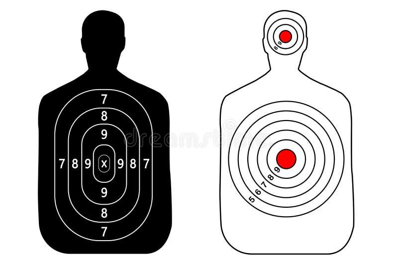 Obiettivo umano della pistola su fondo bianco Siluetta di un uomo royalty illustrazione gratis
