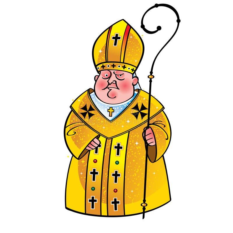 Obispo papa del sacerdote stock de ilustración