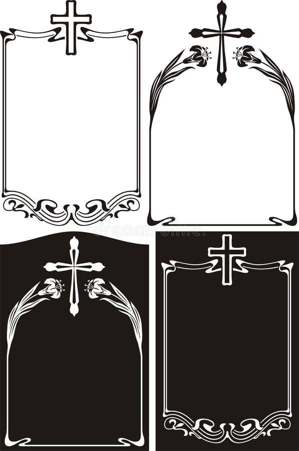 Obituario o placa conmemorativa - art déco ilustración del vector