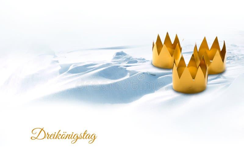 Objawienie Pańskie, Trzy królewiątek dzień, symbolizujący trzy majdrować koronami o obrazy royalty free