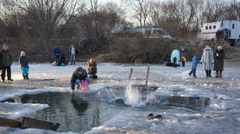 Objawienie Pańskie wakacje w Primorsky Krai Pływać w dziurze obrazy royalty free