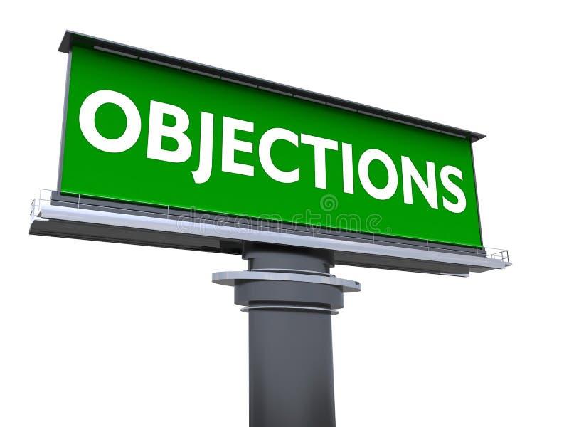 objeciones ilustración del vector