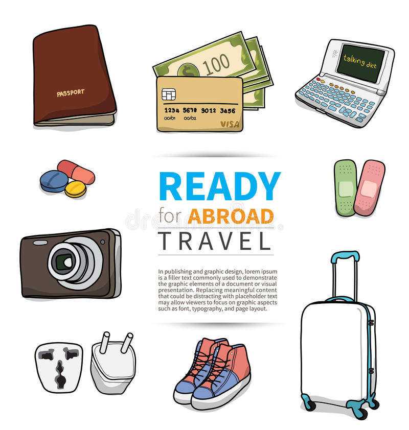 Object for abroad travel. On white background vector illustration