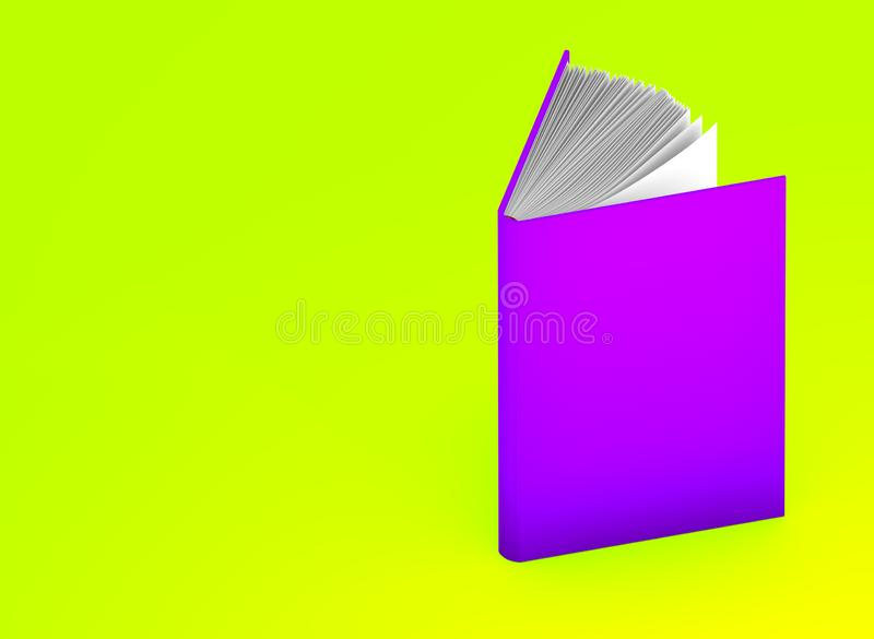 Cute very detailed purple half closed book, symbol of the day of knowledge isolated on green - object 3d illustration royalty free illustration
