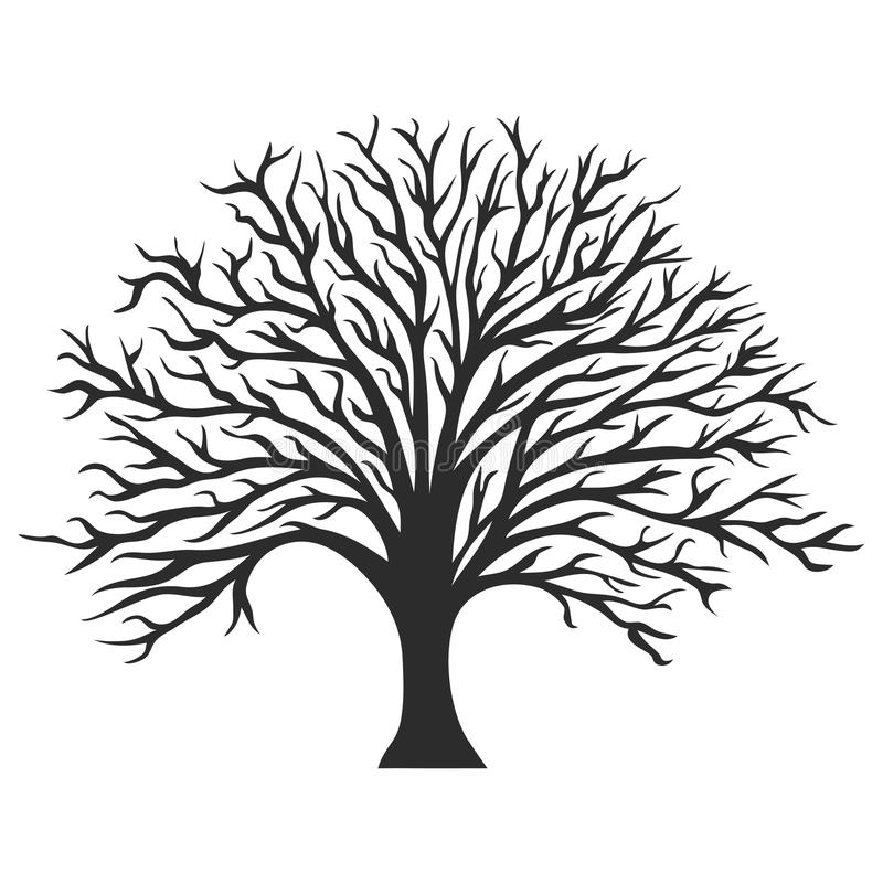 Object oak tree silhouette royalty free illustration