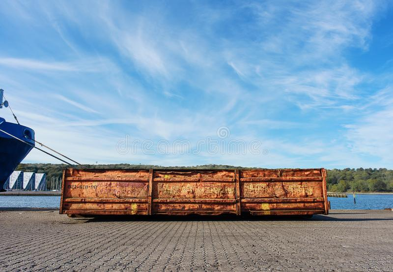 Object of port loading equipment. Copy space. Container for garbage royalty free stock image