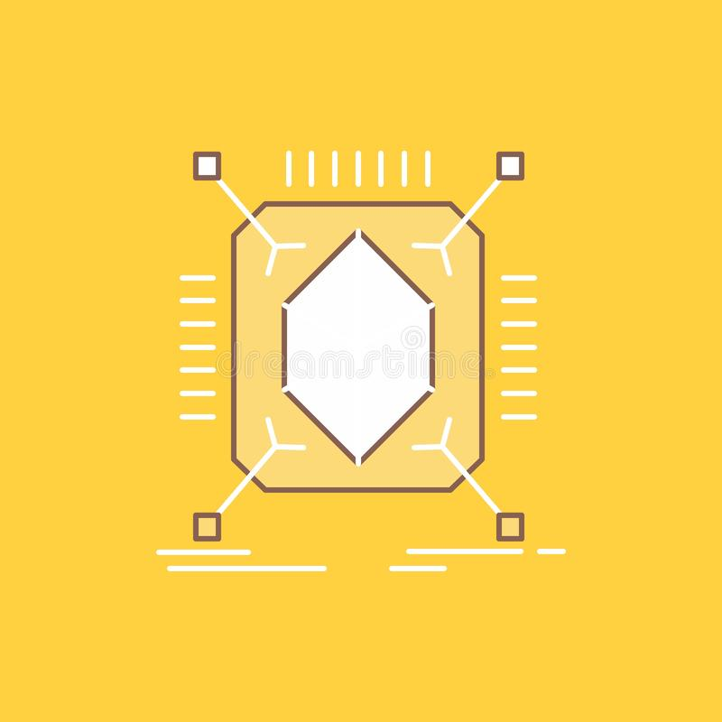 Object, prototyping, rapid, structure, 3d Flat Line Filled Icon. Beautiful Logo button over yellow background for UI and UX,. Website or mobile application stock illustration