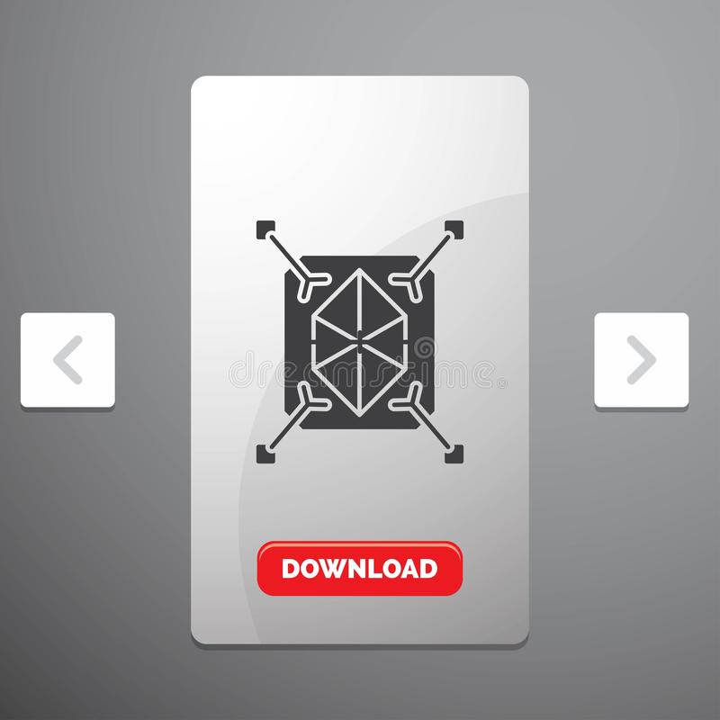 Object, prototyping, rapid, structure, 3d Glyph Icon in Carousal Pagination Slider Design & Red Download Button. Vector EPS10 Abstract Template background stock illustration