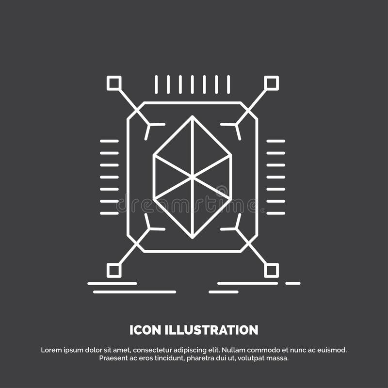 Object, prototyping, rapid, structure, 3d Icon. Line vector symbol for UI and UX, website or mobile application. Vector EPS10 Abstract Template background stock illustration