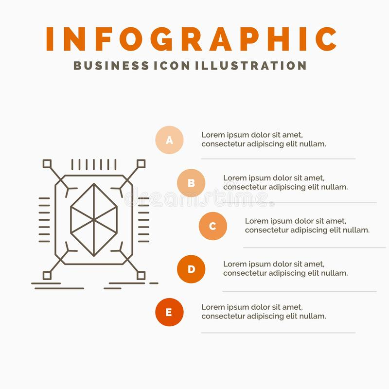 Object, prototyping, rapid, structure, 3d Infographics Template for Website and Presentation. Line Gray icon with Orange. Infographic style vector illustration stock illustration