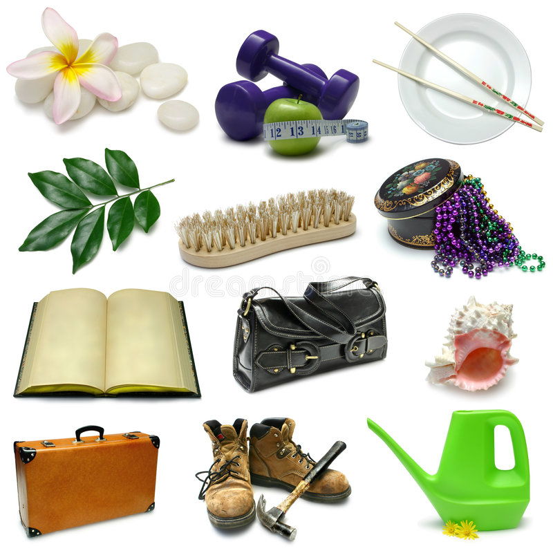 Object Sampler. Objects Sampler with clipping paths royalty free stock photos