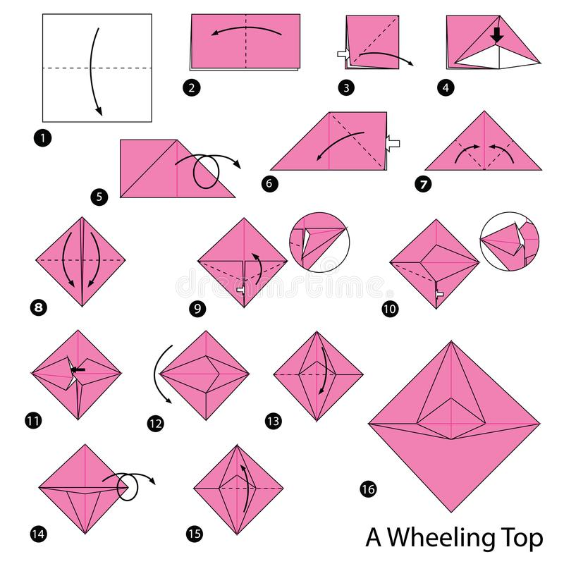 Download Step By Instructions How To Make Origami A Wheeling Top Stock Vector