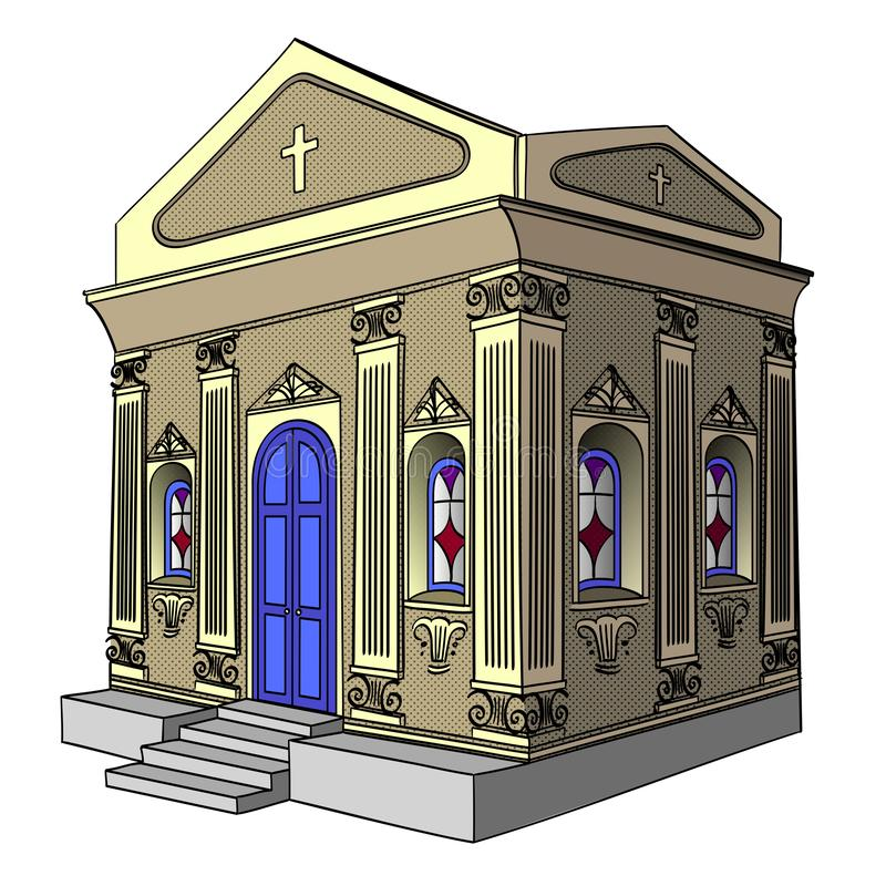 Object on white background raster. Crypt, cemetery, church, building. Object on white background raster illustration. Crypt, cemetery church building royalty free illustration