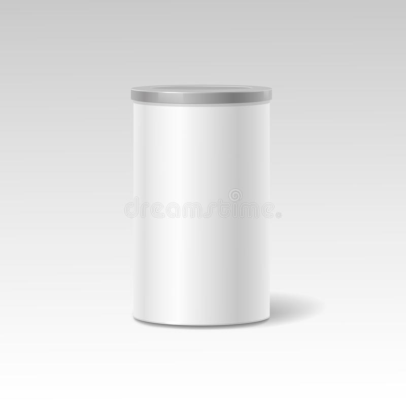 Object. White round tin packaging. Tea coffee. Object. White round tin packaging. Tea and coffee, dry products. Place your design. Realistic shadow royalty free illustration