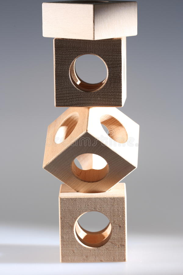 Object of wooden cubes stock images