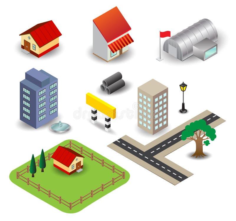 Objecten 3D stad royalty-vrije illustratie