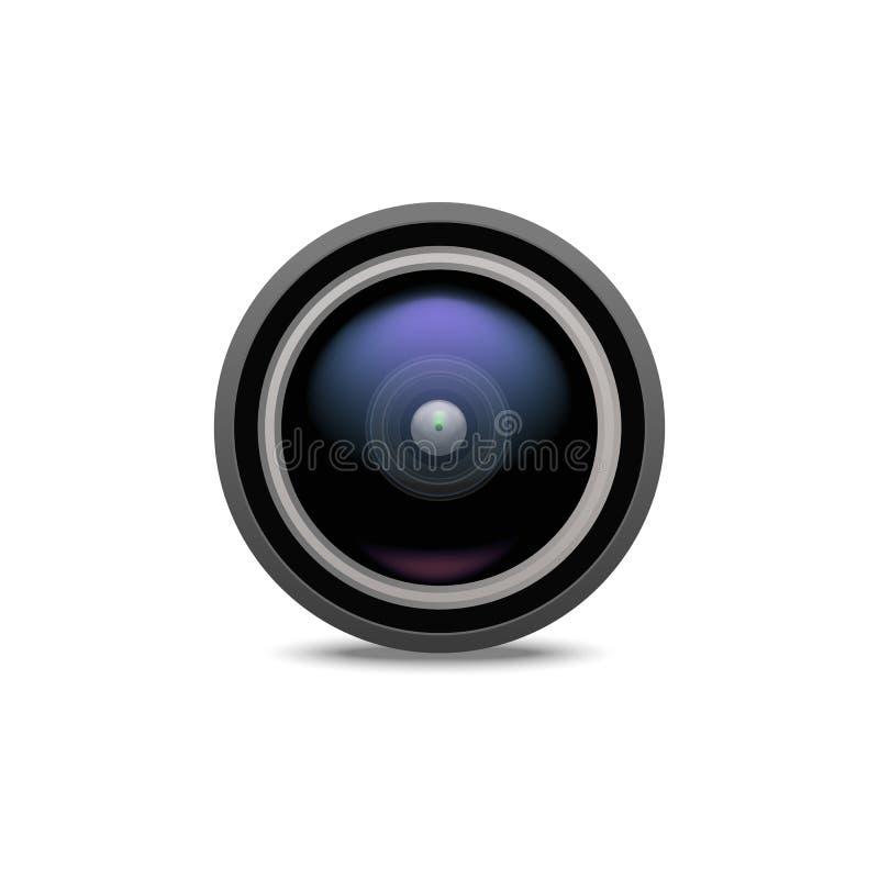 Objectif de caméra 3d détaillé réaliste Vecteur illustration stock