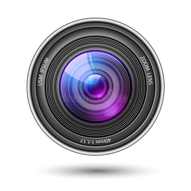 Objectif de caméra réaliste avec le vecteur de réflexions illustration de vecteur