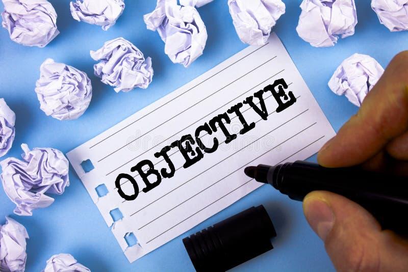 Objectif des textes d'écriture de Word Le concept d'affaires pour le but a prévu d'être réalisé a désiré la mission de société ci image stock