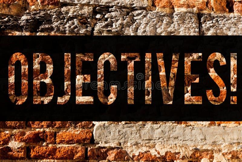 Objectifs des textes d'écriture de Word Concept d'affaires pour des buts prévus pour être art désiré réalisé de mur de briques de photographie stock libre de droits