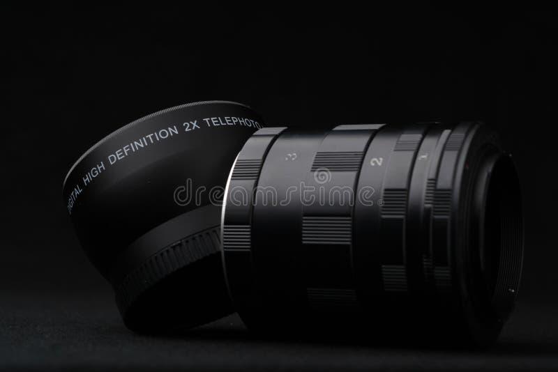 Grupo de tubo da extensão usado para a fotografia macro imagens de stock