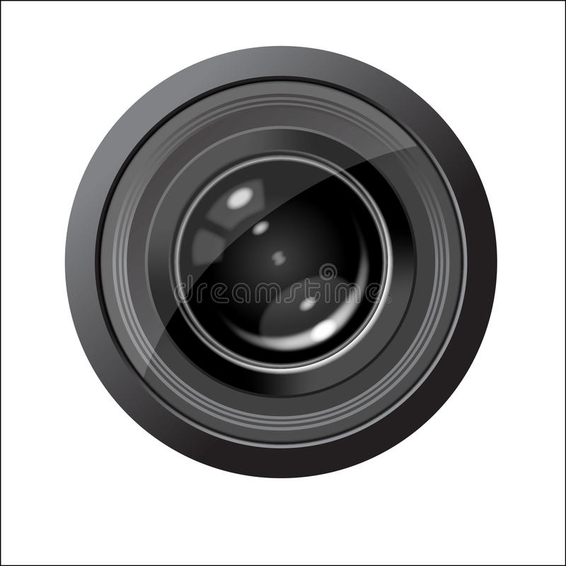 Objective. Image of camera objective on the white background vector illustration