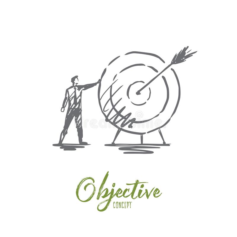 Objective, business, arrow, target, success concept. Hand drawn isolated vector. Objective, business, arrow, target, success concept. Hand drawn businessman vector illustration