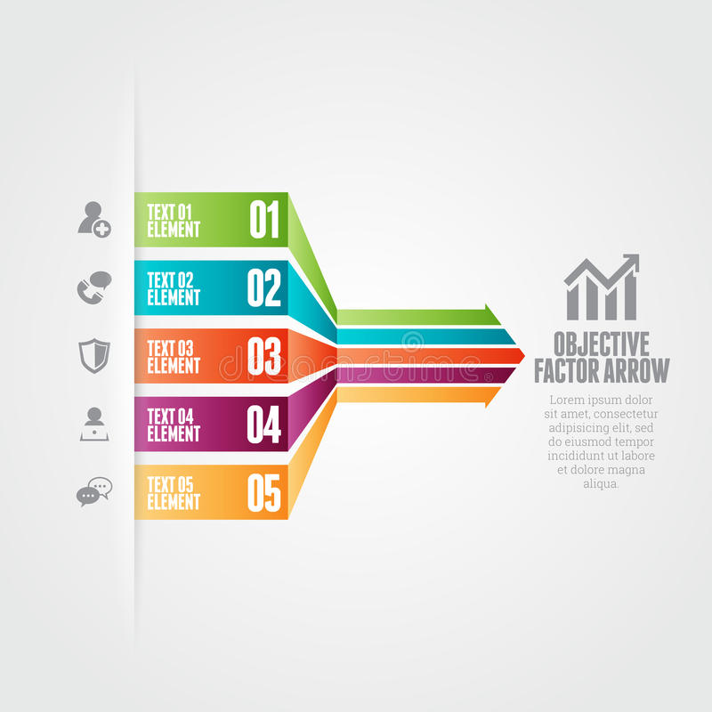 Objective Factor Arrow. Vector illustration of objective factor arrow infographic design elements royalty free illustration