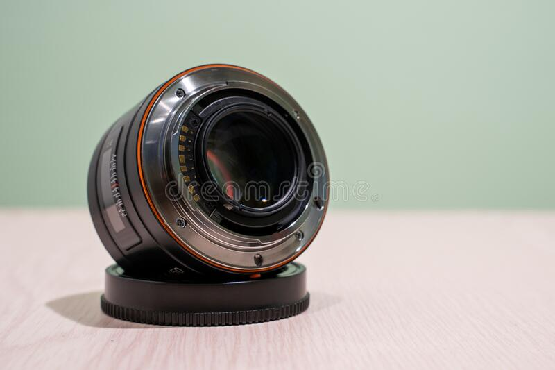 Objective lens of photo camera for photo or video royalty free stock images