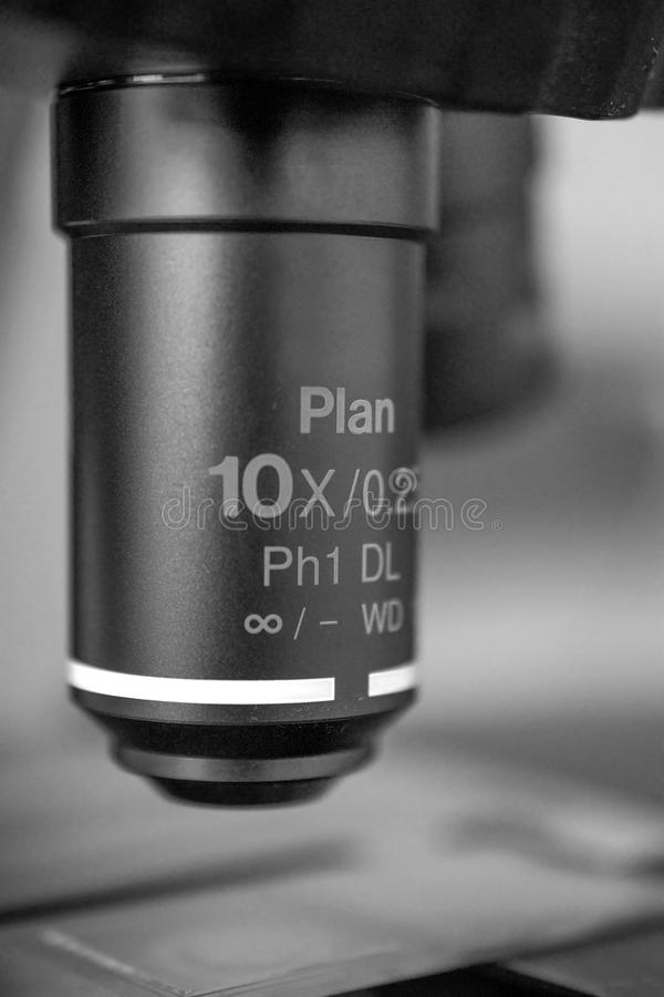 Objective lens of a transmission microscope stock photography