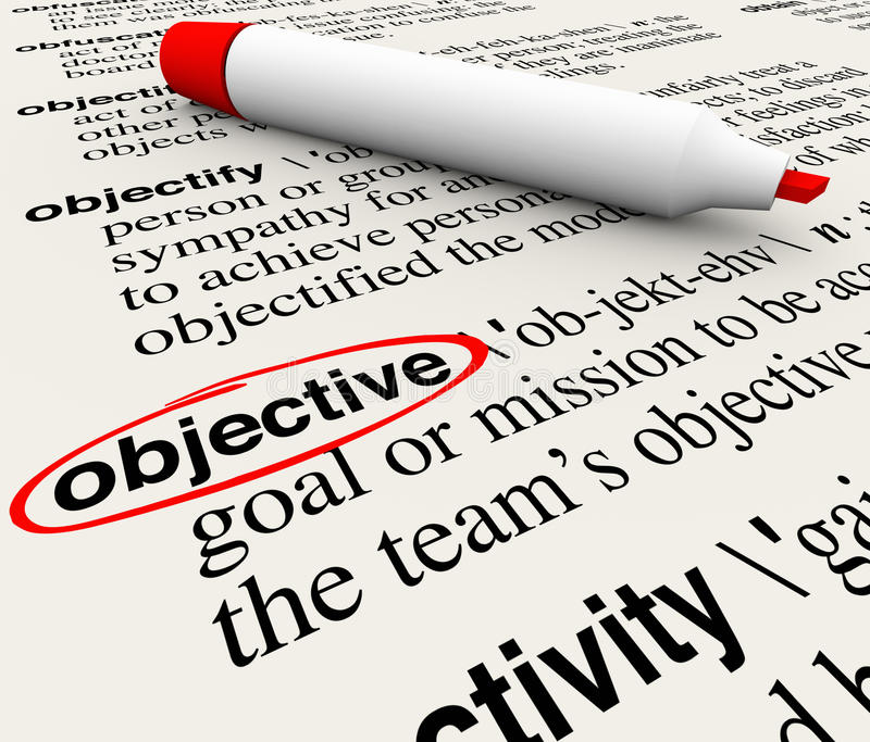 Objective Mission Goal Dictionary Word Definition Circled. Objective word circled on a dictionary page showing the definition of the word meaning mission, goal royalty free illustration