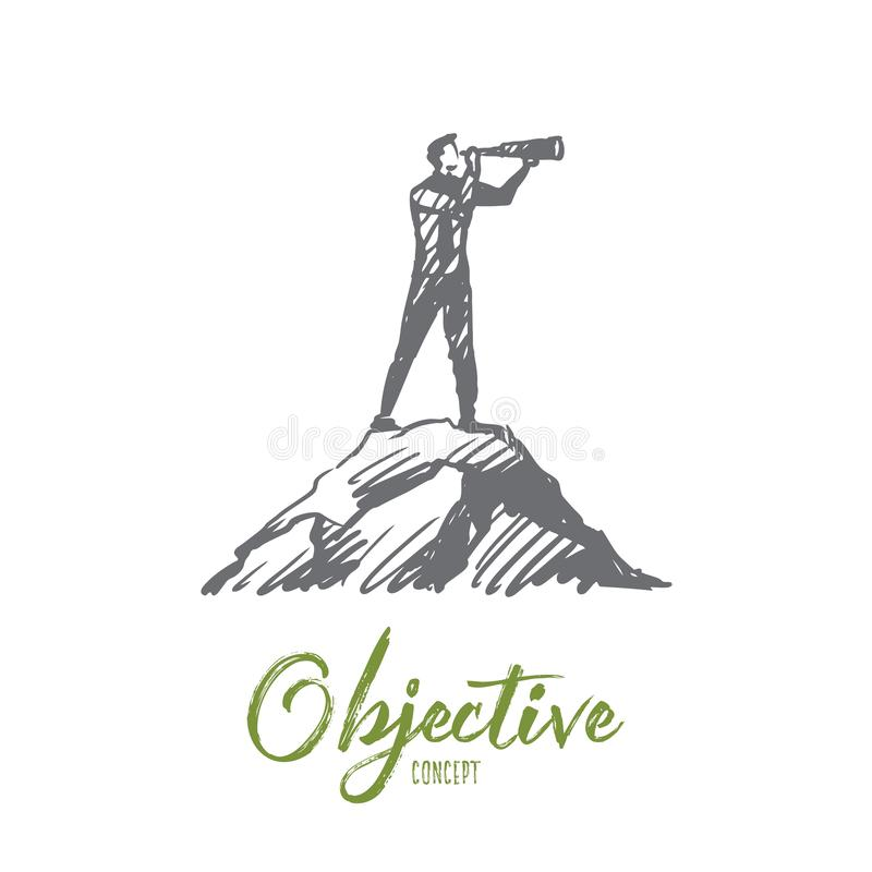 Objective, target, strategy, future, success concept. Hand drawn isolated vector. Objective, target, strategy, future, success concept. Hand drawn man looking royalty free illustration